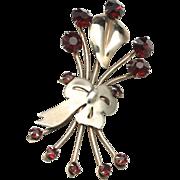 Vintage Sterling Silver & Red Rhinestone Modernist Flower Bouquet Brooch Pin