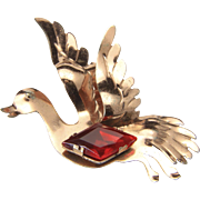 Vintage Sterling Silver w/ Gold Wash & Red Rhinestone Duck in Flight Brooch Pin