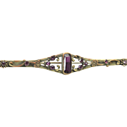 Vintage Victorian Brass Flower and Amethyst Glass Gem Bar Brooch Pin