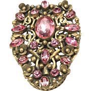 Vintage Large Victorian Brass and Pink Glass Gem Floral Shield Brooch Pin Ornate