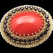 Vintage Gold Tone Filigree w/ Large Red Cabochon & Rhinestone Brooch Pin Austria