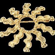 Vintage Alva Museum Replica Gold Tone Modernist Wavy Sun Brooch Pin