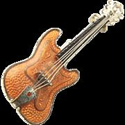 Vintage West Germany Silver Tone Enamel Orange Guitar Brooch Pin