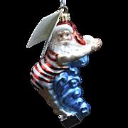 "Radko ""Swan Dive Santa"" Hand-Painted Glass Christmas Ornament Beach Swim w/ Tag"