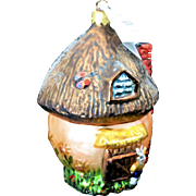 "Radko ""Shroom with a View"" Easter Bunny House Glass Hand-Painted Ornament w/ Tag"