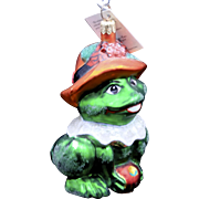 "Vintage Radko ""Lillie Mac"" Frog w/ Flower Hat Large Glass Spring Easter Ornament"
