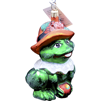 """Vintage Radko """"Lillie Mac"""" Frog w/ Flower Hat Large Glass Spring Easter Ornament"""