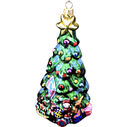 Radko Extra Large Christmas Tree w/ Toys & Star Hand-Painted Glass Ornament