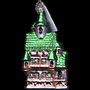 "Radko ""Tudor Toy Shop"" Blown Glass Hand-Painted Christmas Ornament House"