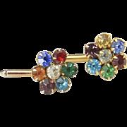 Vintage Gold Tone & Multi Color Rhinestone Flower Womens Cufflinks Cuff Links