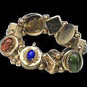 Vintage 1950s Pik NY Gold Tone Multi Faux Gem Stone Charm Slide Bracelet