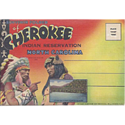 Vintage Cherokee Indian Reservation North Carolina Souvenir Accordion Folder