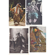 Vintage Postcard Lot of 4 Native American Indian Portrait & Lifestyle
