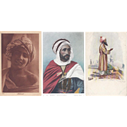 Vintage Postcard Lot of 3 Head Wrap Turban Portraits British India Alger