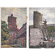 Vintage Postcard Lot of 2 Germany Landmark Poem Rhein