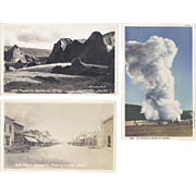 Vintage Postcard Lot of 3 Scenery Old Faithful Geyser Fairbanks Alaska Montana