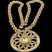 Vintage Eisenberg Gold Tone Faux Emerald Cabochon & Rhinestone Large Necklace
