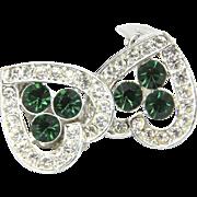Vintage Sarah Coventry Silver Tone Green & White Rhinestone Heart Clip Earrings
