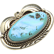 Vintage Navajo Sterling Silver Turquoise Stone Brooch Pin Native American Signed