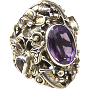 Vintage Sterling Silver & Amethyst Large Butterfly Flower Ring Statement Size 8