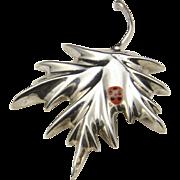 Vintage Mexico Sterling Silver Leaf Enamel Lady Bug Pin Brooch or Pendant Signed