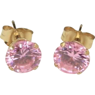 14K Yellow Gold Pink Cubic Zirconia Solitaire Stud Post Earrings