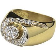 Vintage 14K Yellow Gold & White Diamond Modernist Ring Size 4.5 Unique Abstract