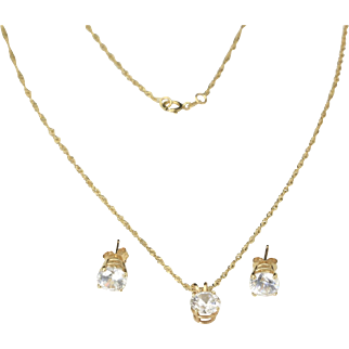 14K Yellow Gold Cubic Zirconium Solitaire Earrings with Necklace Pendant Set