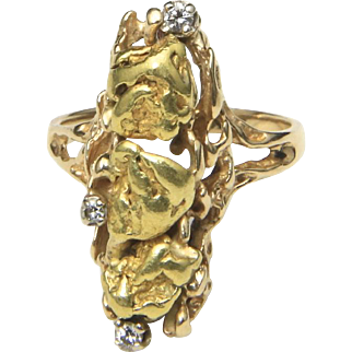Vintage 14K Yellow Gold 3 Gold Nuggets & 3 Diamonds Oblong Setting Ring Size 8.5