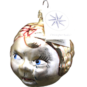 Vintage Radko Glass Double Face Little Girl Head Happy & Sad Ornament Christmas