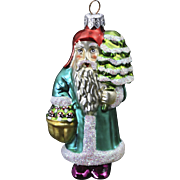 VIntage Radko Glass Christmas Ornament Santa w/ Mushrooms Toadstools & Tree