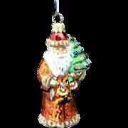 Vintage Radko Glass Christmas Ornament Santa w/ Toys & Tree Orange Robe
