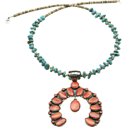 Sterling Spiny Oyster Naja Necklace Turquoise Nugget Heishi Bead Native American