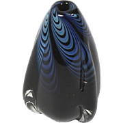 Vintage Black & Blue Blown Studio Art Glass Bud Vase by Buzz Williams Signed