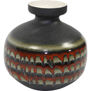 Vintage Mid Century Modern Drip Glaze Art Pottery Vase Black Green Orange MCM
