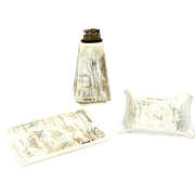 Mid Century Atomic Sascha Brastoff 3 Piece Ceramic Lighter Ashtray & Tray Set L5