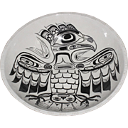 Vintage Large Haida Tlinglit Monochrome Black On White Eagle Ceramic Bowl