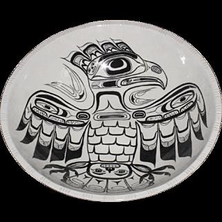 Vintage Large Haida Tlinglit Monochrome Black On White Eagle Ceramic Bowl