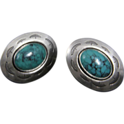 Vintage Navajo Button Style Post Earrings Sterling Silver Turquoise Southwestern Jewelry