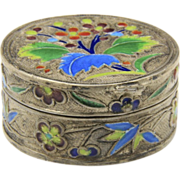 Vintage Silver Enamel Pill Box Beautiful Color Flowers Floral Lovely Box Detailed