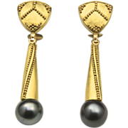 Stunning 22k Yellow Gold Tahitian Pearl Earrings Granulated Detail Custom Master Jeweler Stewart Jones