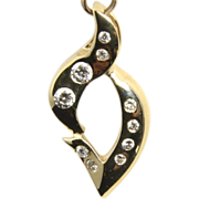 Stunning 14k Yellow Gold & Diamond Slide Pendant Gypsy Setting