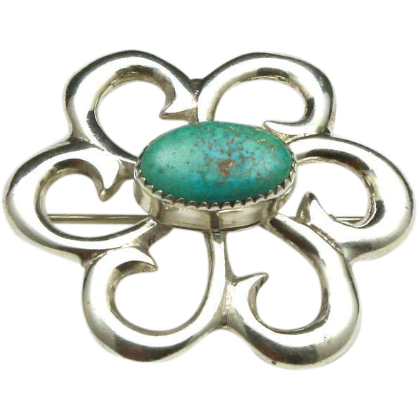 Vintage navajo sterling silver sandcast turquoise swirl for Classic jewelry house lobortas