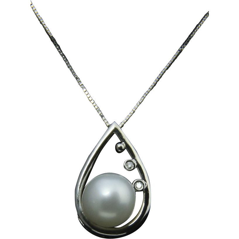 stunning 14k white gold pearl pendant necklace