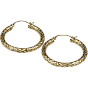 Beautiful 14k Yellow Gold Open Work Hoop Earrings Snake Mesh Textured