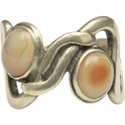Vintage Sterling Silver Free Form Fire Agate Double Stone Ring Modern Sz 7.5