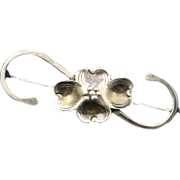 Vintage 1930s Sterling Silver Flower Brooch Pin Marked Hand Made