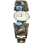 Vintage Navajo Turquoise Coral & Sterling Silver Timex Watch Native American Artisan