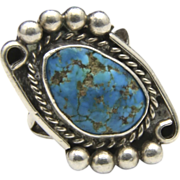 Vintage Navajo Sterling Silver & Turquoise Ring Signed Sz 6.5 Native American Southwestern Artisan Jewelry