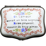 Vintage Limoges Porcelain Trinket Box Hinged Signed Quote Floral Love